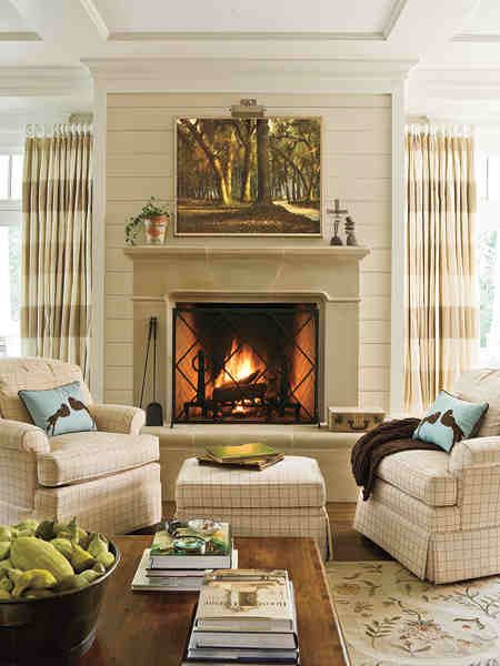 Gorgeous details! Marble fireplace surround and warm, neutral color color palette. Very cozy!