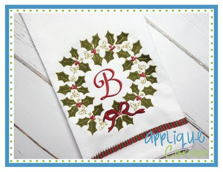 Holly Wreath for Monogram Embroidery Design