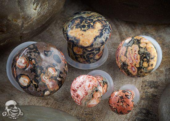 Single flare leopardskin jasper stone plugs