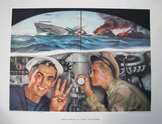 1943 Vintage WWII WW2 Sinking Jap Ship Periscope Electric Boat Co. Poster Print