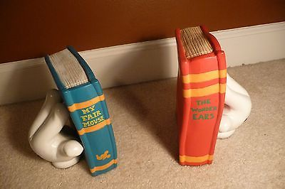 Vintage Walt Disney Mickey Mouse Book Ends 'Wonder Ears' & 'My Fair Mouse' RARE: