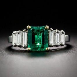 1.50 Carat Emerald and Diamond Vintage Engagement Ring