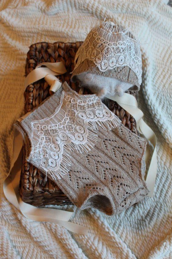 Baby Girl Bonnet Newborn Onesie Upcyle Newborn Photography Prop with Lace Bonnet