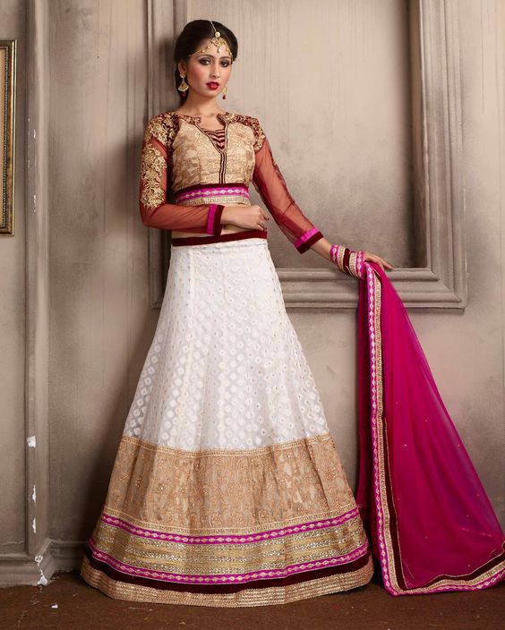 Off   White lovely Embroidered Silk Buy Lehenga Choli Online       Fabric:   Silk       Work:   Embroidered       Type:   Buy Lehenga Choli   Online       Color:   Off White                 Lehanga   Fabric   Silk       Choli Fabric
