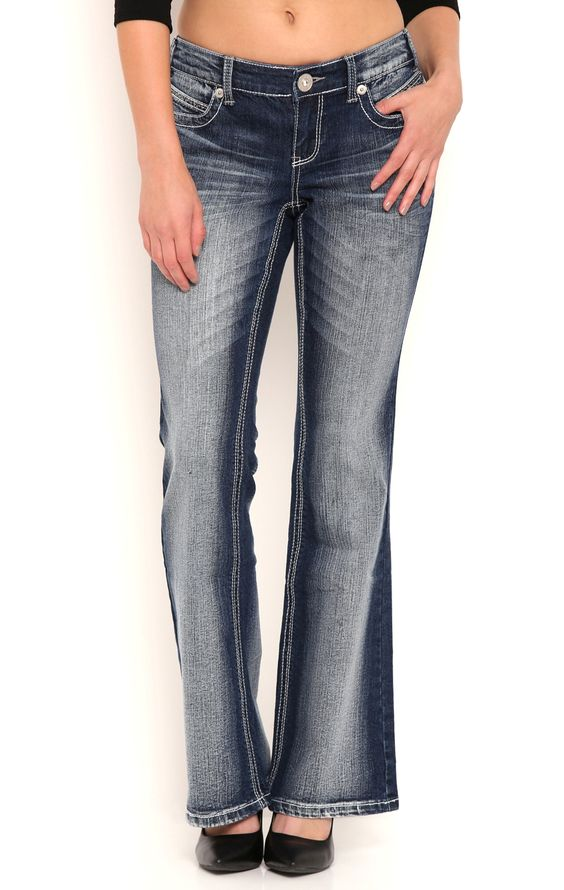 Ariya Blasted Curvy Slim Bootcut Jeans with Deco Inspired Back Pockets
