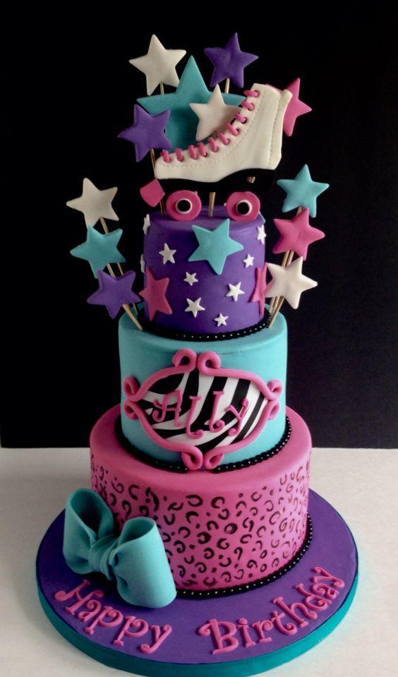 Animal print & roller skate cake   Soy luna - Disney ...