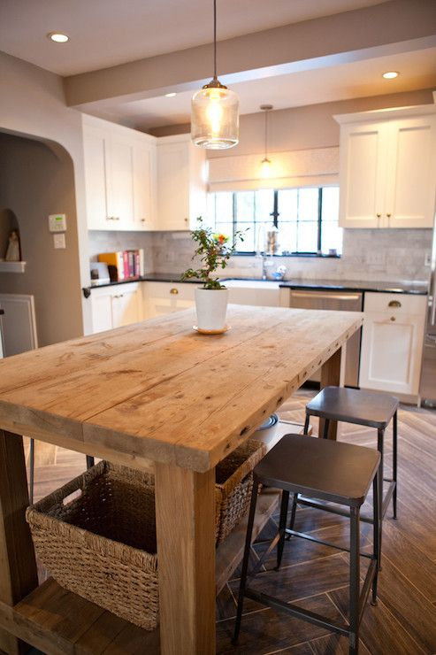 Salvaged Wood Island, Transitional, kitchen, Tess Fine | nica house ...