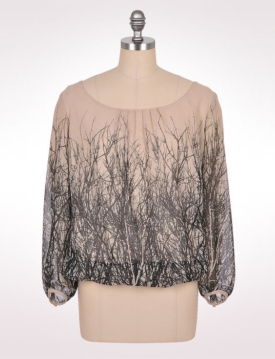 Women's | Tops | Blouses | Branch Print Top | dressbarn