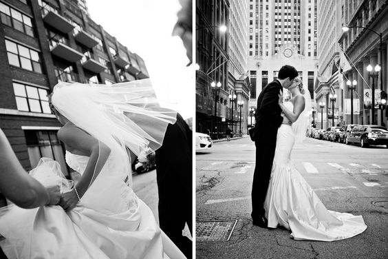 Middle of Lasalle St. A Bride and a Groom.