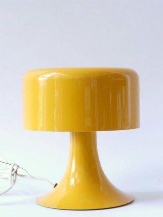 Vintage jaren 70 39 s kleine gele paddestoel tafellamp for Interieur 70 jaren