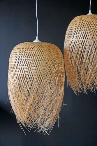Woven Basket Lamp : Hand woven bamboo basket lampshade diy ps