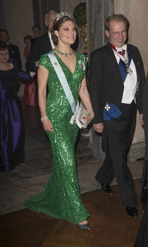 Crown princess Victoria at the Nobel-prize ceremony and banquette in 2012 wearing dress by Elie Saab