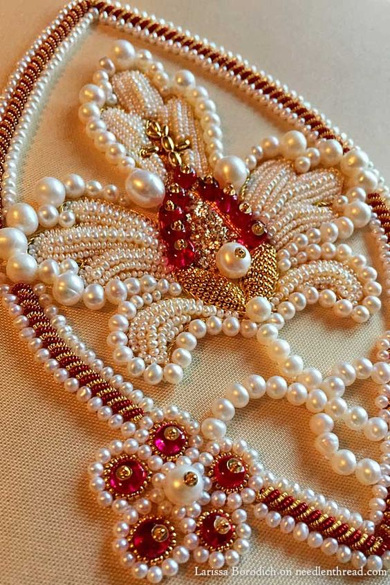 Pearl and goldwork embroidery - stylized pomegranate design: