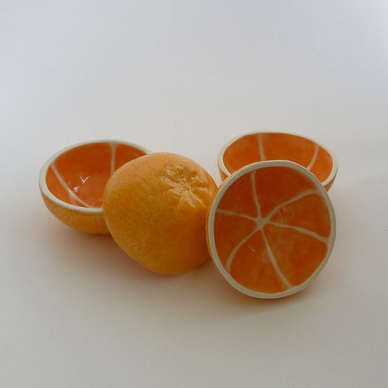 set of 4 orange bowls (etsy shop: vegetabowls):