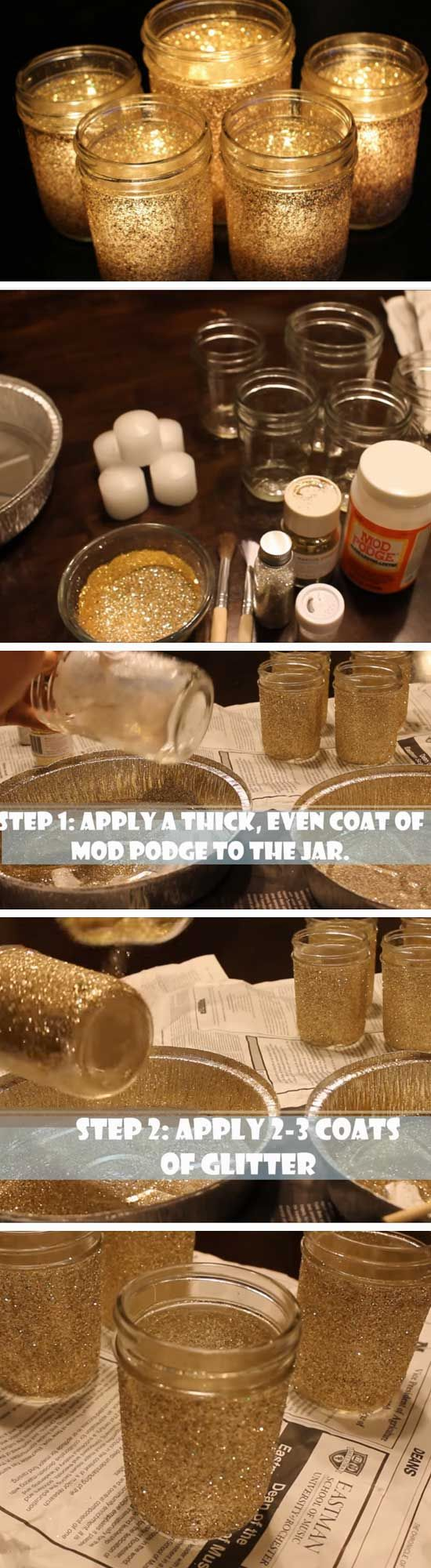 Christmas Party Craft Ideas For Adults Part - 35: Ten Inspirational DIY Mason Jar Ideas For Weddings   Gold Mason Jars, Mason  Jar Vases And Jar