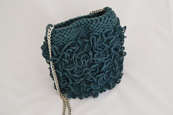 Evening purse emerald bag Teal wedding purse ruffle by Notforeat