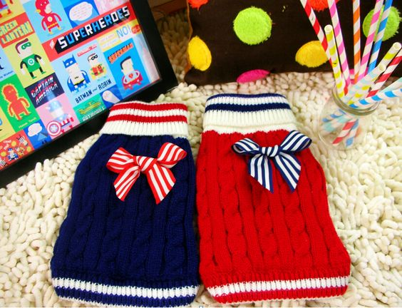 Free Shipping 2014 New  Autumn & Winter Pet Dog  Sweater Navy & Sailor Style Coat 2 colors size XS,S,M,L