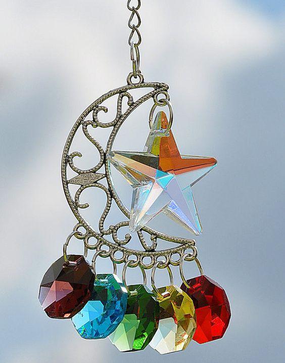 Rear View Mirror Hanging Crystal Star Moon Car Charm Rainbow Chakra Suncatcher Amulet Swarovski on Etsy, $8.35