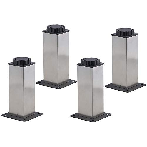 4pcs Furniture Cabinet Metal Legs Kitchen Adjustable Stainless Steel Feet Square 12cm 120mm Feature Stainless Steel Furniture Steel Furniture Furniture Legs