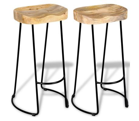 Bar Stools 2 Pcs Solid Mango Wood Tabouret De Bar Design Tabouret Cuisine