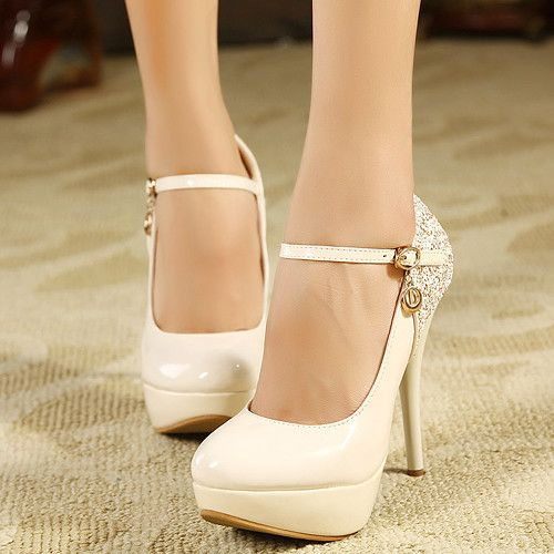Beautiful Ivory PU Sequined Round Closed Toe Stiletto Super High ...