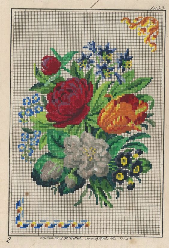 A Lovely Floral Berlin WoolWork Pattern Produced By L W Wittich Berlin