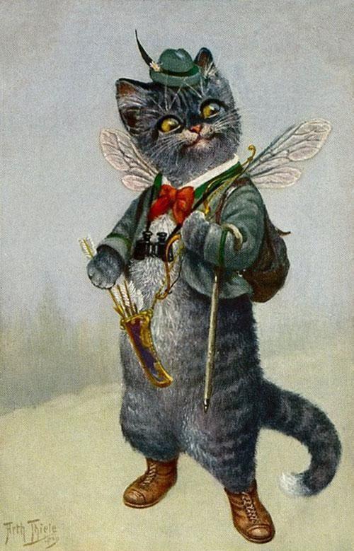 Cat Chat Katze Cupid Binoculars from Arthur Thiele Vintage Postcard:
