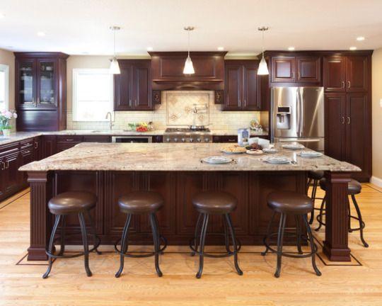 Rich Cherry Cabinets Blonde Hardwood Floors Large Island