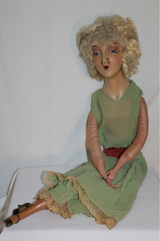"Rare ""Big Face"" Composition & Cloth Boudoir Doll 32"" Glass Eyes | eBay"