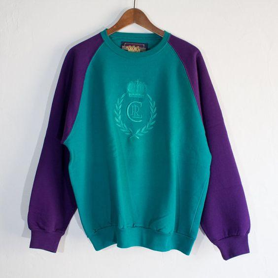 Vintage 90's Chaps Ralph Lauren Crewneck Two-Tone Turquoise/Purple Sweater - (Medium) on Etsy, $25.00