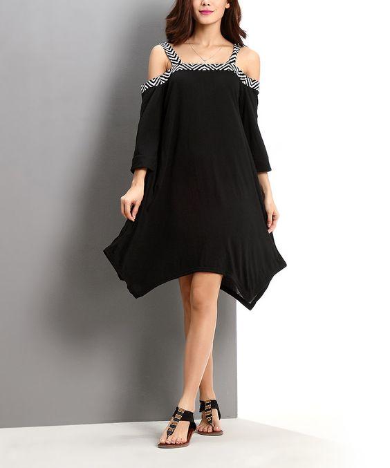 Look what I found on #zulily! Black Off-Shoulder Dress by Reborn Collection #zulilyfinds