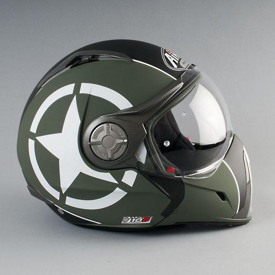 Love this miltary liveried helmet. Airoh J-106 P-J Shot Green