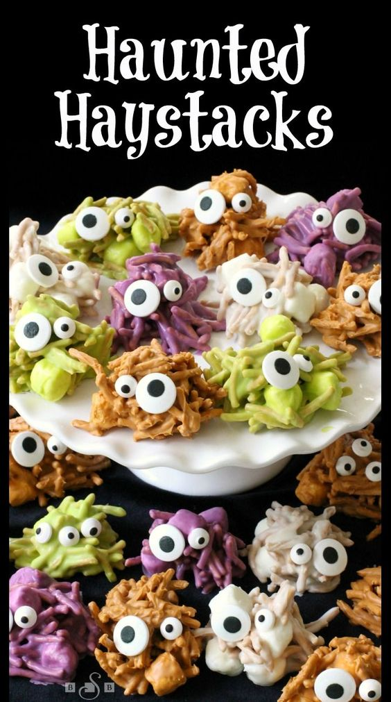 Haunted Haystacks - these ghoulish little treats are perfect for Halloween! Easy to make and so delicious to eat- try them! Butter With A Side of Bread