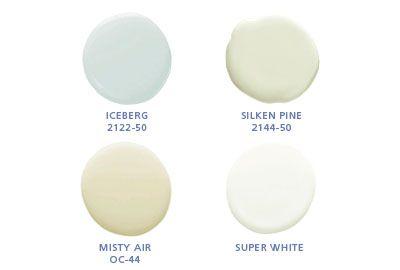Benjamin Moore colors: Iceberg 2122-50, Silken Pine 2144-50, Misty Air OC44, Super White
