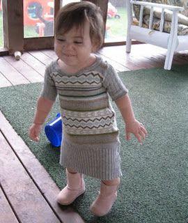 Repurposed sweater to baby dress
