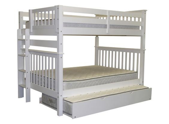 Bunk Bed Full over Full End Ladder White with Twin Trundle delivered for only $692