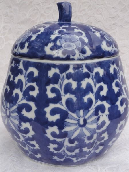Large Blue White Gourd Jar Lid 8 Big Cookie Jar For The