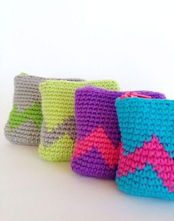 Tapestry Crochet Coin Purse   Monedas, Proyectos de ganchillo y ...