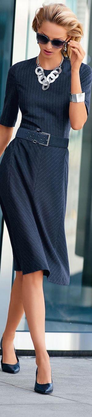 Madeleine Fall 2014 ● MADELEINE Sheath Dress #pinstripe #babystripes #face