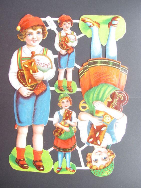 Bogen Glanzbild SCRAPS Hänsel und Gretel 32 cm hoch Germany