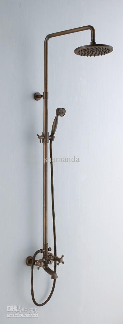Wholesale Antique brass bathroom rain shower set with 8inch brass shower head 1, Free shipping, $287.38-308.28/Set | DHgate