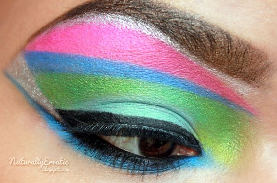 Bright lights.: 80S Colorblock, Beauty Eyes, Block Eyeshadow, Eyes Lips Nails Hair, 1980S Makeup, Neon Color, Colorblock Eye