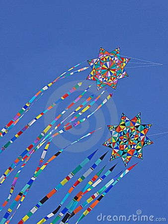 Colorful Kites Riding The Breeze Stock Photos - Image: 21004553