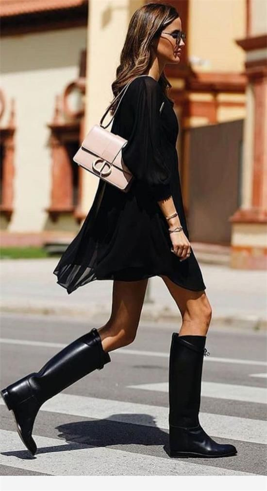 We have collected 40+ high boots looks inspiration you'll ever need. #Boots #Fashion #Highboots #KneeHigh #ThighKnee