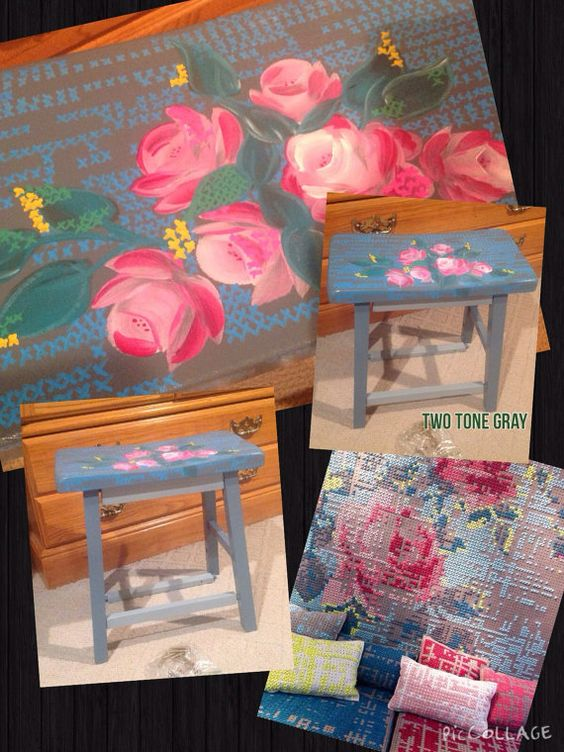 Custom Painted 18 chair stool by paintingbymichele on Etsy