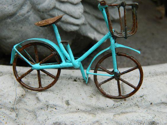 Miniature Bicycle- bike for fairy garden-accessories for terrarium or fairy garden-Miniature robins egg blue bike by gardenflowers1 on Etsy https://www.etsy.com/listing/238933626/miniature-bicycle-bike-for-fairy-garden
