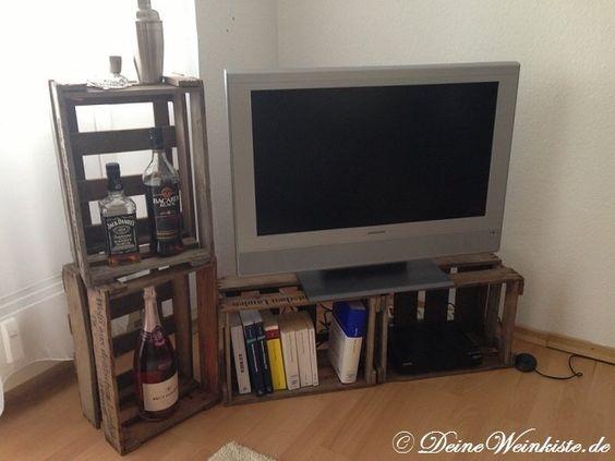 Fernsehschrank aus weinkisten  Lowboard (für TV) aus Weinkisten (mit Anti-Holzwurm ...