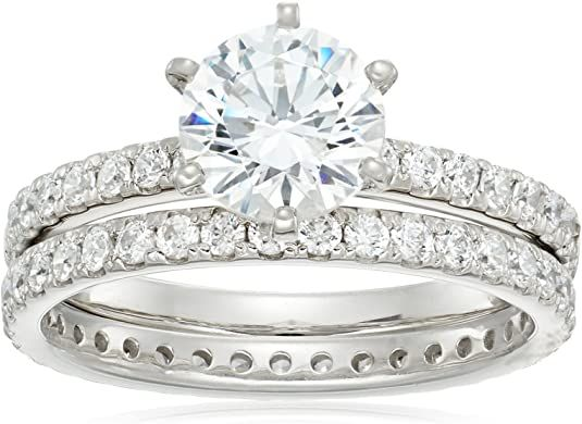 2-Piece Wedding Rings 10k Yellow Gold Plating Round Cut Diamond Anniversary Promise Bridal Set 925 Sterling Silver