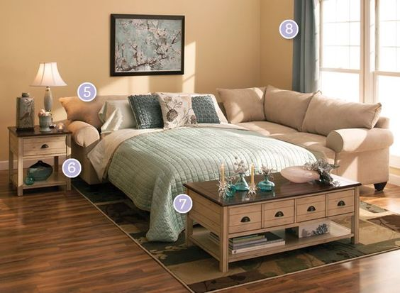 5. Sprawl Out If you're putting visitors up in your living room, you don't have to sacrifice seating to accommodate a pullout bed; choose a sectional sleeper and enjoy a spacious arrangement.