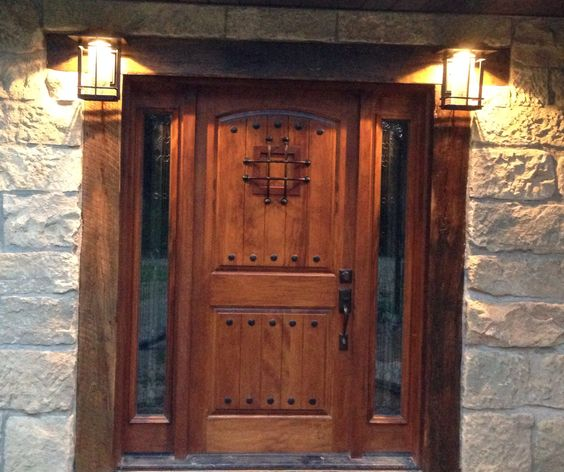 Rustic front door and lights